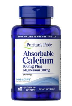 Puritan`s Pride Absorbable Calcium 600 mg plus Magnesium 300 mg & vitamin D 1000 IU