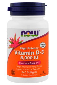 NOW Vitamin D-3 5,000IU, 240 softgels